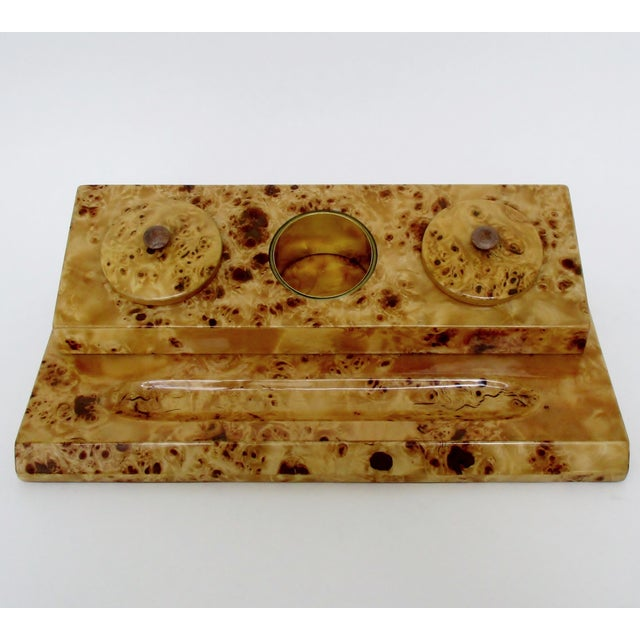 Brown Lacquered Burl Wood Desk Set For Sale - Image 8 of 8