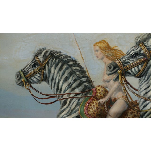 "Raymond Whyte ""Nudes on Zebras"" Surreal Oil Painting - Image 6 of 10"