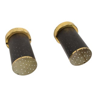 Mid-Century Modern Lightolier Era Wall or Ceiling Sconces in Black & Brass - a Pair For Sale