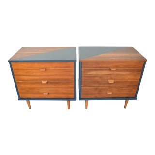 1960's Mid-Century Blue Wooden Geometric Nightstands - A Pair