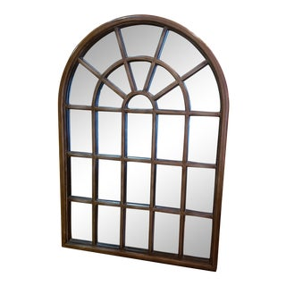 59 in Tall...Mid 20th Century Arched Top Window Pane Mirror With Gold Finish For Sale