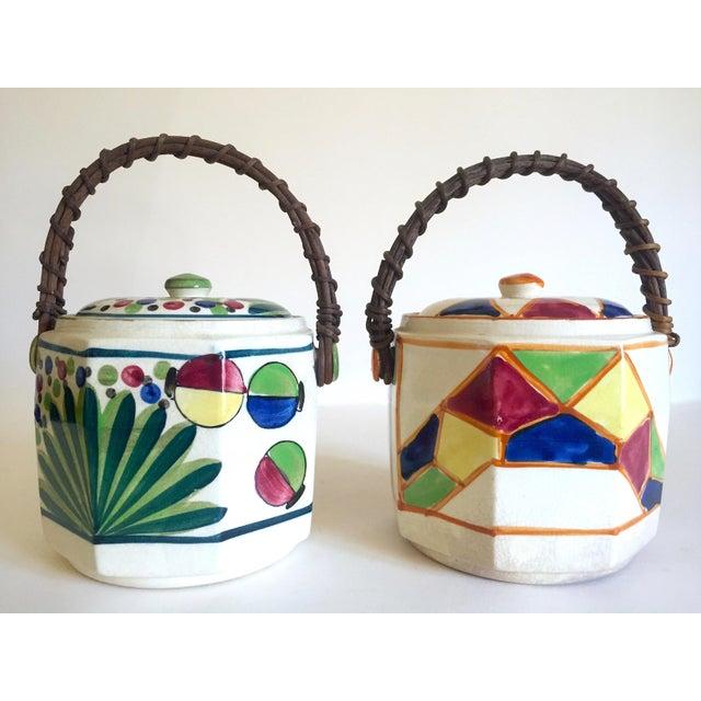 Rare Vintage 1930's Art Deco Japan Hand Painted Porcelain Handled Ceramic Biscuit Barrel Jars - Set of 2 For Sale - Image 13 of 13