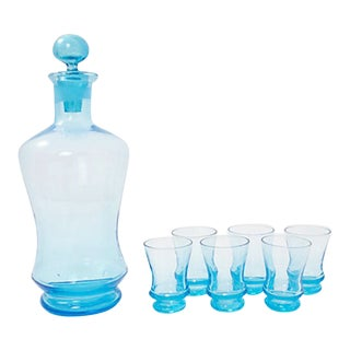 Italian Glass Decanter & Shots, 7 Pieces For Sale
