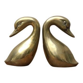 Brass Swan Figurines - A Pair