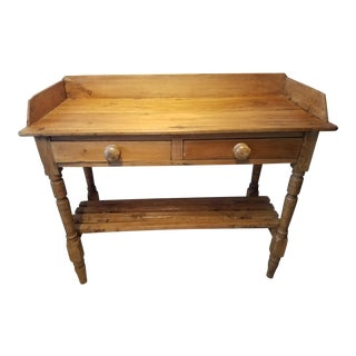 Antique Pine Two Drawer Wash Stand With Removable Shelf For Sale