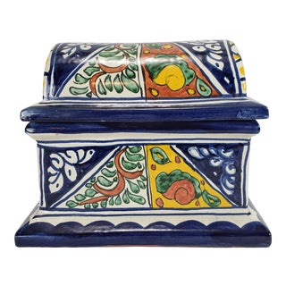 Late 20th Century Vintage Talavera Mexico Hand Painted Terra Cotta Box For Sale