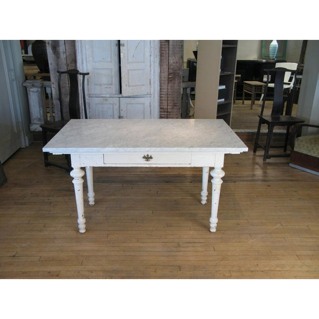 White Antique 19th Century Refectory Table With Venatino Marble Top For Sale - Image 8 of 9