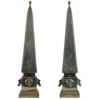 Mid-Century Boar's Heads Pewter Obelisk Models - a Pair