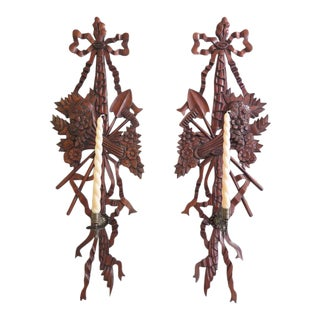 French Louis XIV Style Mahogany Candle Wall Sconces - a Pair