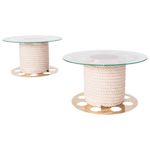 Paco Rabanne Round Brass Side Tables, Pair of Two For Sale - Image 10 of 10