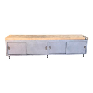 Vintage Industrial Steel Cabinet With Butcher Block Top For Sale