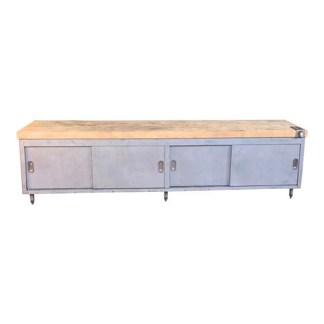Vintage Industrial Steel Cabinet With Butcher Block Top For Sale