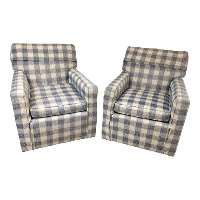 Kravet Brunschwig & Fils Upholstered Down Filled Arm Chairs For Sale