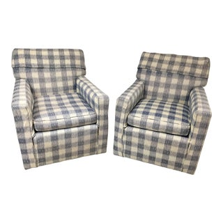 Mid-Century Brunschwig & Fils Upholstered Down Filled Arm Chairs For Sale