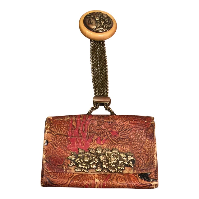 Late 19th Century Elaborate Meiji Period Embossed Leather and Silver Tobacco Pouch For Sale - Image 13 of 13