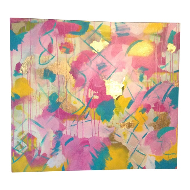 Michelle Chong Abstract Mixed Media on Canvas Pastel Painting For Sale