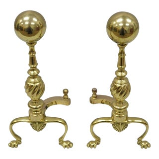 Vintage Mid Century Brass Cannonball Finial Paw Feet Federal Style Andirons- A Pair For Sale