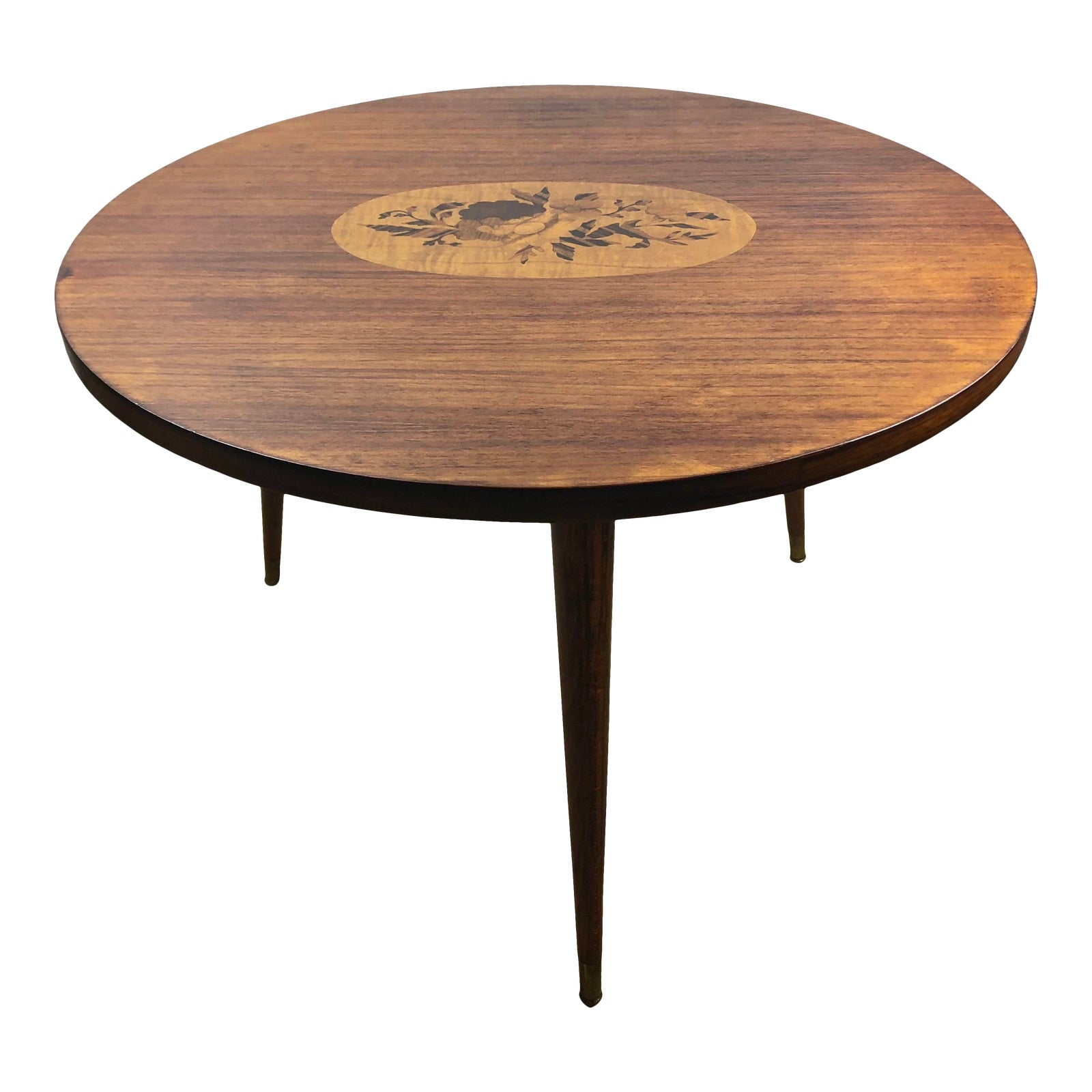 French Art Deco Style Round Wooden Coffee Or Side Table With Marquetry Center Chairish