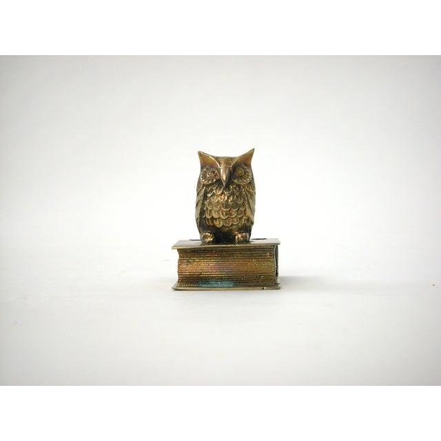 Vintage Brass Owl Pen Holder - Image 3 of 8