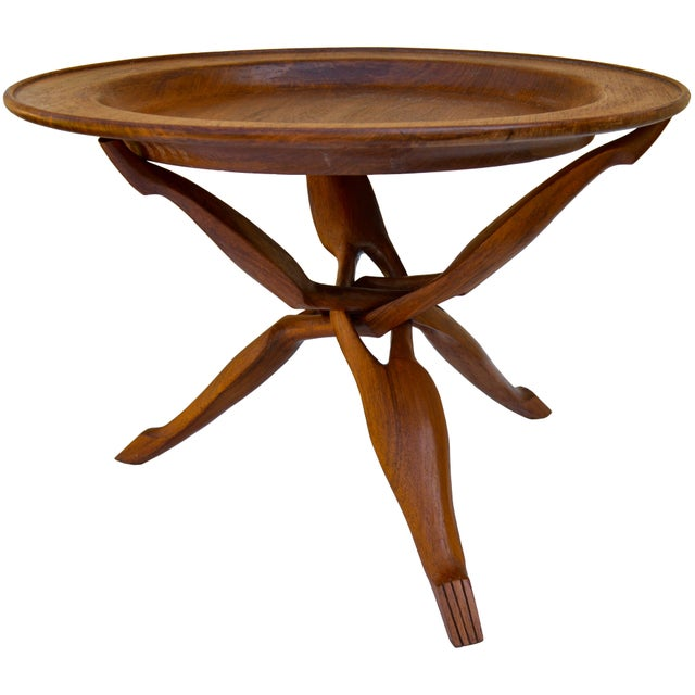 Wood Handcarved Rosewood Tray-Top Table For Sale - Image 7 of 7