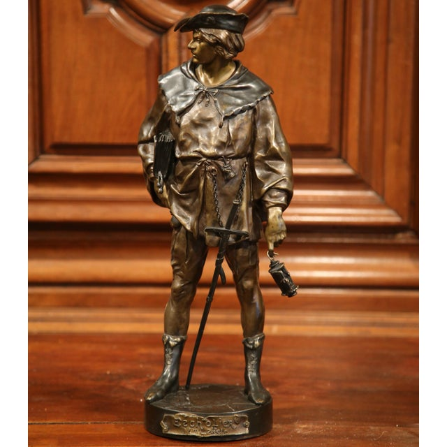 """19th Century French Patinated Bronze Figure """"L'escholier"""" Signed Emile Picault For Sale - Image 10 of 10"""