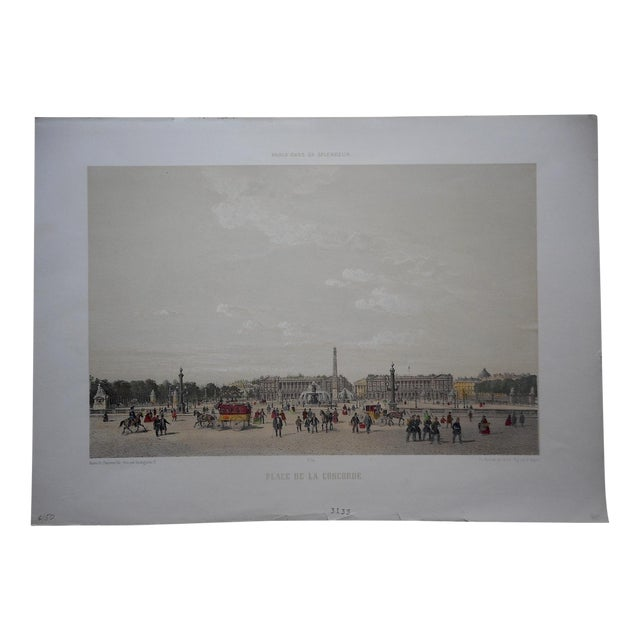 View of Paris Antique Folio Size Lithograph For Sale