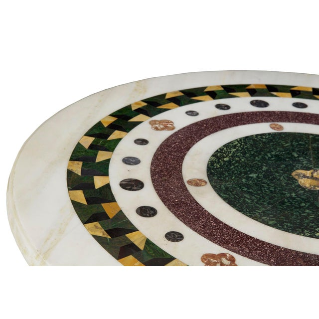 Italian Neoclassical Antique Pietra Dura Center Table W/ Bronze Base For Sale - Image 6 of 11