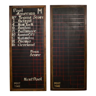 Pair of Antique Chalkboard Pool Hall Scoreboards C.1940 For Sale