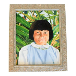 Framed Portrait Oil on Canvas For Sale