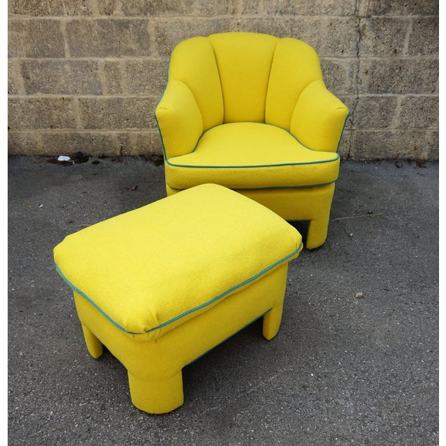Vintage 80s Yellow Club Chair & Ottoman - Image 2 of 8
