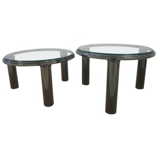 Designer Postmodern Smoked Chrome and Glass Round Side or Cocktail Tables For Sale