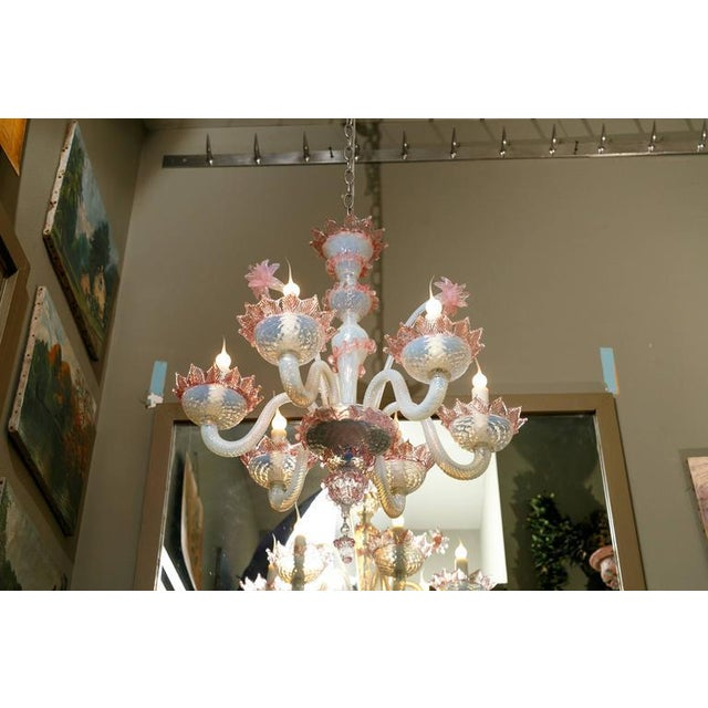 Murano Pink and White Murano Blown Glass Chandelier with Flowers, Circa 1940 For Sale - Image 4 of 5
