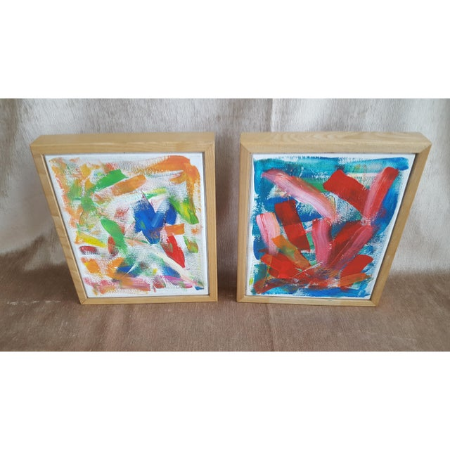 A Pair- Original Abstract Acrylic Paintings in Cubed Wooden Frames For Sale - Image 10 of 13