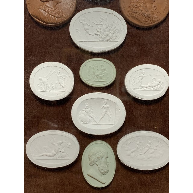Early 19th Century Arrangement of Grand Tour Plaster Cameos in Velvet Frame For Sale - Image 4 of 10