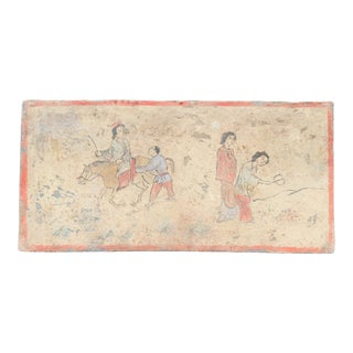 Delightful Hand-Painted Liao Dynasty Style Mural Tile For Sale