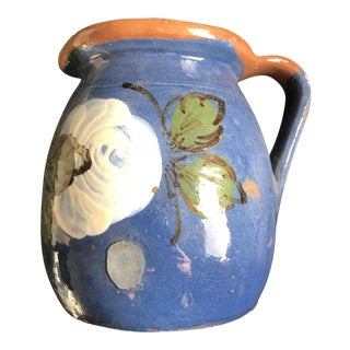 1880's Vintage European Blue Ceramic Handpainted Milk Jug For Sale