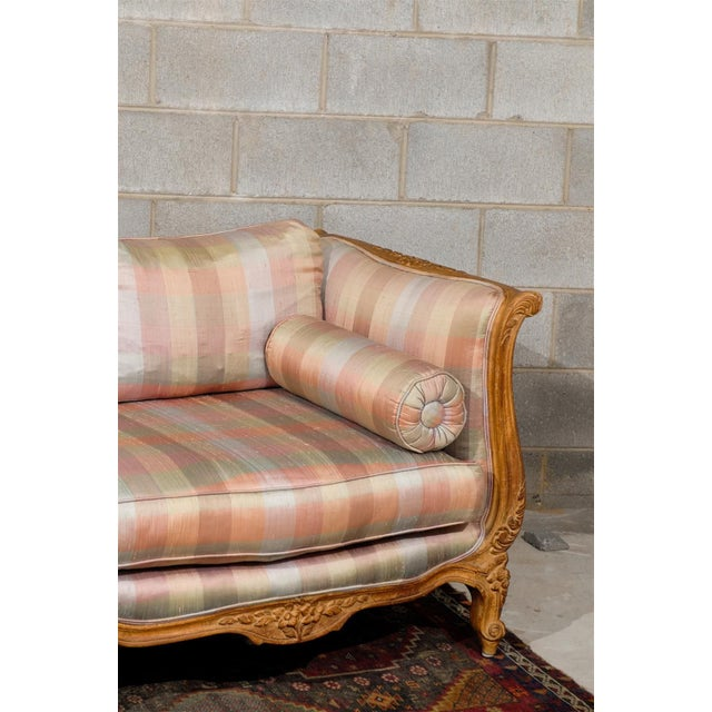 French Louis XV Style Carved Wood Sofa For Sale - Image 3 of 5
