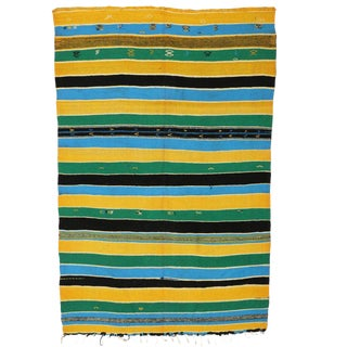 Vintage Berber Moroccan Kilim with Stripes and Tribal Boho Chic Style For Sale