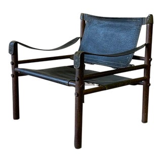 Authentic + Rare Mid Century Modern Leather Safari Chair by Arne Norell, Made in Sweden For Sale