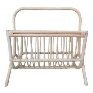 Vintage Bamboo and Pencil Reed Magazine Rack For Sale