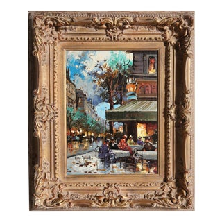 1960s 'French Cafe' Oil on Canvas Painting by Henri Renard, Framed For Sale
