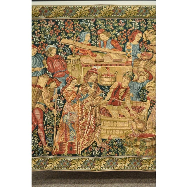 "French 70""x 62"" French Wall Hanging Tapestry Jacquard Mille-Fleures Medieval Winemakers For Sale - Image 3 of 10"