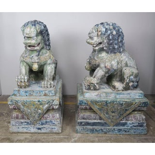 Monumental Chinese Wood Painted Foo Dogs, Pair Preview