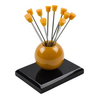 1930s French Art Deco Orange and Black Bakelite Cocktail Picks For Sale