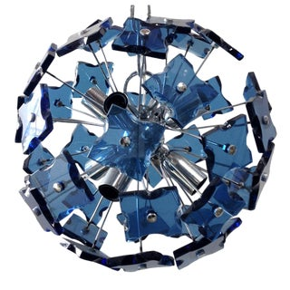 Blue Faceted Glass Sputnik Chandelier For Sale
