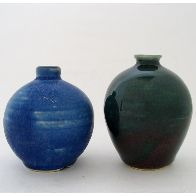 Contemporary Petit Ceramic Vases - A Pair For Sale - Image 3 of 5