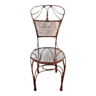 1960's Vintage Italian Gilt Iron Rope and Tassel Chair For Sale