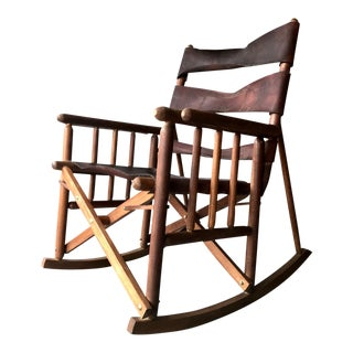 Mid-Century Modern Costa Rican Leather Campaign Folding Rocking Chair For Sale