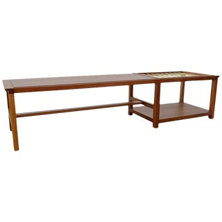 Mid-Century Modern Dunbar Walnut and Brass Coffee Table With Magazine Rack For Sale