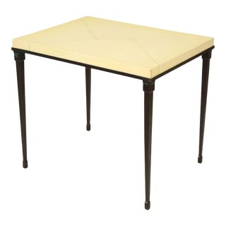 Bespoke Parchment-Top Table With Iron Base For Sale